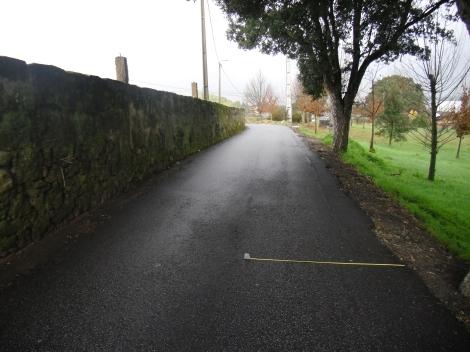 Estrada com pouco mais de 3 metros de largura e ladeada por valeta.
