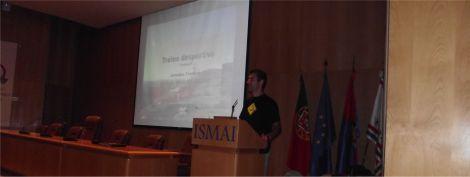 Pedro Silva (Eu) durante a intervenção com o tema: Treino desportivo.