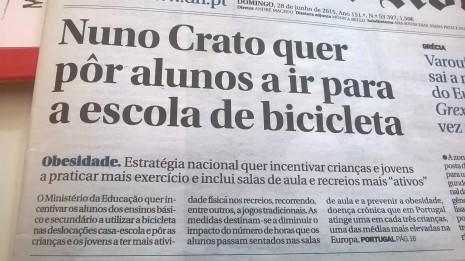 Nuno Crato pedalar para a escola 1