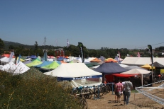 Vistas panorâmicas das tendas