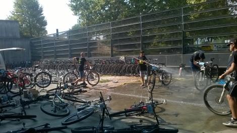 Um verdadeiro exercito que trata das bicicletas enquanto descansas e usufruis do tempo ao final de cada etapa.
